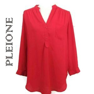 Pleione Red Sheer Roll Tab Sleeve Blouse (S)